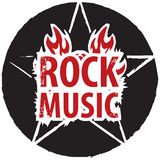 Rock music with electric guitar. Banner for rock music with pentagram on fire Stock Photo