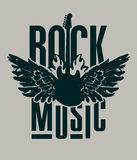 Rock music with electric guitar. Banner for rock music with electric guitar with wings on fire Royalty Free Stock Photo