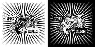 Rock music electric guitar and chopper motorbike Royalty Free Stock Photos