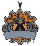 Rock music. Emblem with an electric guitar and speakers in flames Royalty Free Stock Images