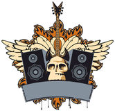 Rock music. Emblem with an electric guitar, speakers, wings and human skull Royalty Free Stock Photography