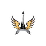 Rock music fest label. Electric guitar with wings. Winged guitar sign. Rock music symbol. Electric guitar with wings. Winged guitar with ribbon for band or Royalty Free Stock Photo