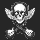 Cool rock star skull wearing disco glasses and headphones Retro music festival. Wings. Heavy metall emblem for concert. Rock music festival. Cool print for Royalty Free Stock Image