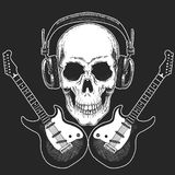 Rock music festival. Cool print for poster, banner, t-shirt. Skull wearing headphones with electric guitar. Heavy metal. Rock music festival. Cool print for Royalty Free Stock Photography