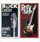 Rock music festival, poster. Jazz or rock music festival, background Stock Photos