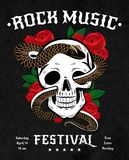 Rock Music Festival Poster. With snake in skull, red roses with leaves on black background vector illustration Stock Image