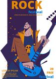 Rock music festival poster vector. Illustration. Rocker concert placard or entry ticket flat cartoon design template of man with electric guitar and skull Stock Photo