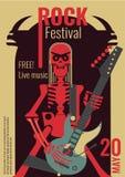Rock music festival poster vector illustration template for live rock concert placard of skeleton rocker playing guitar. Rock music live festival poster vector Stock Photography