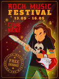 Rock music festival poster. Youth club rock music festival free entrance announcement vintage poster with date of event abstract vector illustration Royalty Free Stock Photography