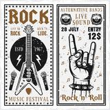 Rock music festival two vertical banners. Or invitation flyers vector templates with guitar and horns hand gesture. Layered, separate grunge texture and text Stock Photography
