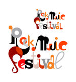 Rock Music Festival. Vector decorative text architecture for a poster. Text composition isolated on a white background Stock Images