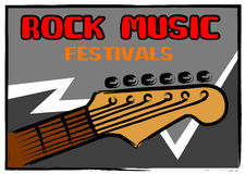 Rock music festivals. Poster in painting brush style Royalty Free Stock Photos