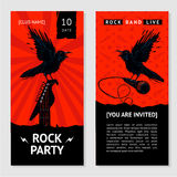 Rock music flyer. Concert invitation with bird. Stock Photos