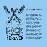 Rock Music Forever Summer Fest Vector Illustration. Rock music forever summer fest poster with two crossed electric guitars surrounded by two wings. Vector Royalty Free Stock Photos