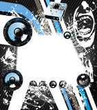 Rock music graphic. Graphic of rock music with abstract illustrations and blank space in middle Stock Images