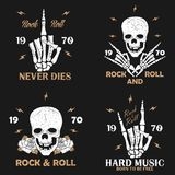 Rock music grunge print for apparel with skeleton hand, skull and rose. Vintage rock-n-roll t-shirt graphics set. Vector. Rock music grunge print for apparel stock illustration