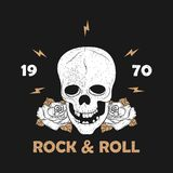 Rock music grunge print for apparel with skeleton skull and rose. Vintage rock-n-roll typography for t-shirt. Design for clothes. Vector illustration Royalty Free Stock Photography
