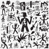 Rock music - hand drawn icon set Stock Photos