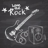 Rock Music Hand drawn sketch guitar with sound box and text love the rock, vector illustration on chalkboard Stock Images