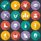 Rock music icons flat. Rock concert music event flat icons isolated vector illustration Stock Photography