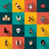 Rock music icons flat. Rock concert festival music party flat icons isolated vector illustration Royalty Free Stock Photography