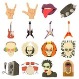 Rock music icons set, cartoon style. Rock music icons set. Cartoon illustration of 16 rock music vector icons for web Stock Photography
