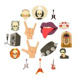 Rock music icons set, cartoon style. Rock music icons set. Cartoon illustration of 16 rock music vector icons for web Royalty Free Stock Photo