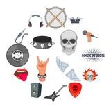 Rock music icons set, cartoon style. Rock music icons set. Cartoon illustration of 16 rock music vector icons for web Royalty Free Stock Image