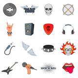 Rock music icons set, cartoon style Stock Images