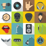 Rock music icons set, flat style Stock Photography