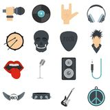 Rock music icons set in flat style Royalty Free Stock Image