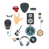 Rock music icons set in flat style. Isolated vector illustration Stock Images