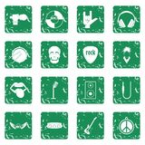 Rock music icons set grunge. Rock music icons set in grunge style green isolated vector illustration Royalty Free Stock Photos