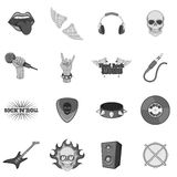 Rock music icons set monochrome Royalty Free Stock Images