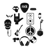 Rock music icons set, simple style. Rock music icons set. Simple illustration of 16 rock music vector icons for web Stock Images