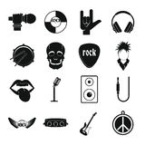 Rock music icons set, simple style. Rock music icons set. Simple illustration of 16 rock music vector icons for web Royalty Free Stock Images