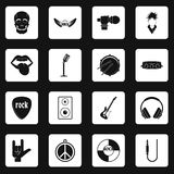 Rock music icons set squares vector. Rock music icons set in white squares on black background simple style vector illustration Royalty Free Stock Image