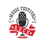 Rock music legendary festival logo, black and red poster with vintage microphone vector Illustration on a white. Rock music legendary festival logo, black and Stock Image
