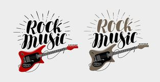 Rock music lettering. Guitar, musical string instrument symbol. Vector illustration Stock Photography