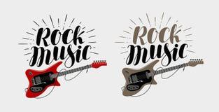 Rock music lettering. Guitar, musical string instrument symbol. Vector illustration Stock Photography