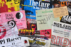 Rock music live concert tickets. ATHENS, GREECE - JUNE 26, 2014: Vintage live concert ticket stubs alternative indie and punk rock music memorabilia from the stock images