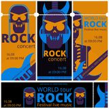 Rock music festival tickets vector illustration templates for live rock concert of skeleton skull and guitar. Rock music live festival tickets vector Royalty Free Stock Photo