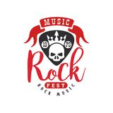 Rock music logo, emblem for rock band, design element with skull and crown can be used for poster, banner, flyer, print. Or stamp vector Illustration isolated Stock Photo