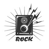 Rock Music Loud Speaker Logo In Black And White Colors Stock Image