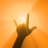 Rock music love hand gesture light flare Stock Photos