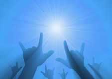 Rock music love hand gesture light flare Stock Image