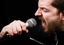 Rock music male singer Royalty Free Stock Photo