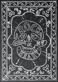 Rock music in my heart. Hand drawn lettering design with skull. Stock Photo