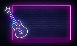 Free Rock Music Neon Sign Vector. Neon Frame Rock Star Design Template, Light Banner, Night Signboard, Nightly Bright Stock Images - 141678564