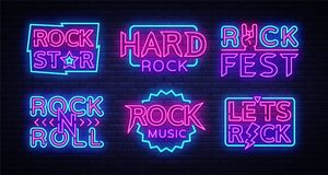 Rock Music Neon Signs Collection Vector. Design template neon signboard on Rock Music, Light banner, Bright Night. Advertising, Design elements for Rock Music Stock Illustration